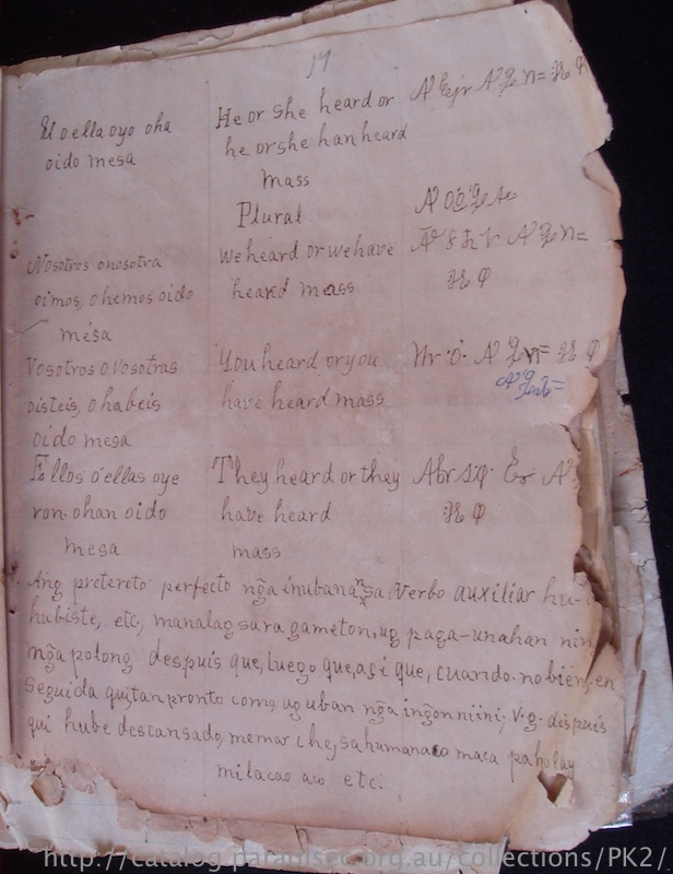 Note grammatical explanations of Spanish in Visayan, evidence of the earlier Visayan–Spanish text from which two later texts were derived.